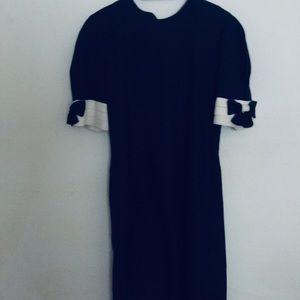 Vintage navy blue linen dress